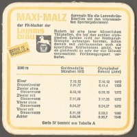 Beer mat GER 1972 LAMMSBRAEU MAXI MALZ OG Munich with times for 2000 m