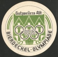 Beer mat GER 1972 OG Munich Peter Wilbert RC Germania Duesseldorf spare man for the German Olympic team reverse