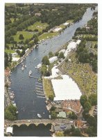 PC GBR aerial view of Henley Royal Regatta finish area and boat tents