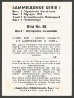 CC GER 1952 INFORMATOR BILDERTAUSCH ZENTRALE Band 1 Olympische Geschichte No. 48 Victory ceremony for M2 gold medal winners Wilson Laurie at OG London 1948 reverse