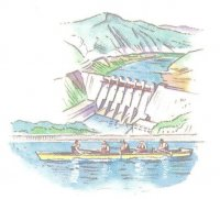 illustrated card jpn gig 4 with concrete dam in background detail
