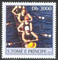stamp stp 2003 apr. 1st og athens 2004 mi 2176 five female sweep oar rowers with cox