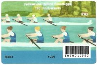 CC ITA 2018 with stamp 130th anniversary of Italian Rowing Federation reverse