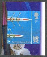 stamp gbr 2010 july 27th mi 2987 paralympic games london 2012 self adhesive birds eye view of two 2x crossing finish line