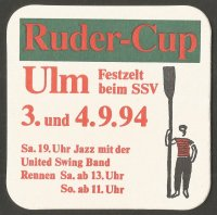Beer mat GER 1994 Ruder Cup Ulm Rower parading with oar