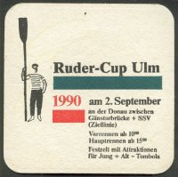 Beer mat GER 1990 Ruder Cup Ulm Rower parading with oar