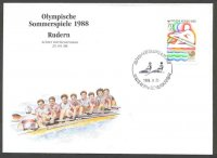 illustrated cover kor 1988 og seoul drawing of 8 ger gold medal winner with stamp and pm kor 1988 sept. 25th