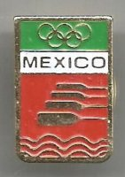Pin MEX Logo of Federacion Mexicana de Remo with golden Olympic rings