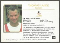 cc ger 1996 deutsche olympiakarten no. 42 thomas lange olympic m1x champion 1988 and 1992 m1x gold medal winner wrc 1987 1989 1991 m2x gold medal winner wrc 1985 reverse