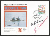 Illustrated cover KOR 1988 Sept. 24th OG Seoul M2X silver medal for U. Bodemann B. Schwerzmann SUI