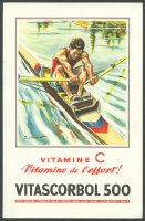 ad fra 1953 societe parisienne d expansion chimique vitascorbol 500 coloured drawing of single sculler