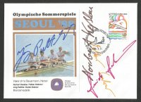 Illustrated cover KOR 1988 Sept. 25th OG Seoul Signatures of GER 4 crew bronze medal winners with stamp PM and photo