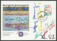 illustrated cover kor 1988 sept. 25th og seoul signatures of ger 8 crew gold medal winners with stamp pm and photo