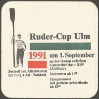 Beer mat GER 1991 Ruder Cup Ulm Rower parading with oar