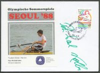 illustrated cover kor 1988 og seoul photo of p. m kolbe ger silver medal winner m1x with his signature stamp and pm kor 1988 sept. 24th