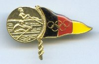 pin ger og athens 2004 two scullers on medal triangular flag of ger