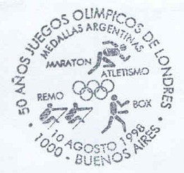 pm arg 1998 aug. 10th buenos aires 50 years og london 1948 with pictograms of medals for arg error